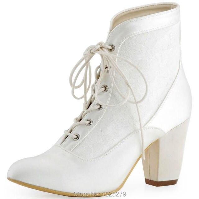 HC1528 Ivoorwit Vrouwen Bruidsmeisjes Bruid Gesloten Teen Comfort Vierkante Lage Hak Satin Lace Wedding Bruidsjurk Schoenen Laarzen