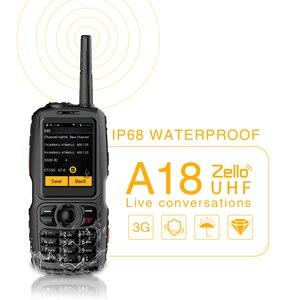 Image 2 - A18 Walkie Talkie con UHF 3800mah IP68 impermeable teléfono inteligente Android4.2.2 Dual SIM Smart Radio GPS Zello 3G WCDMA teléfono móvil