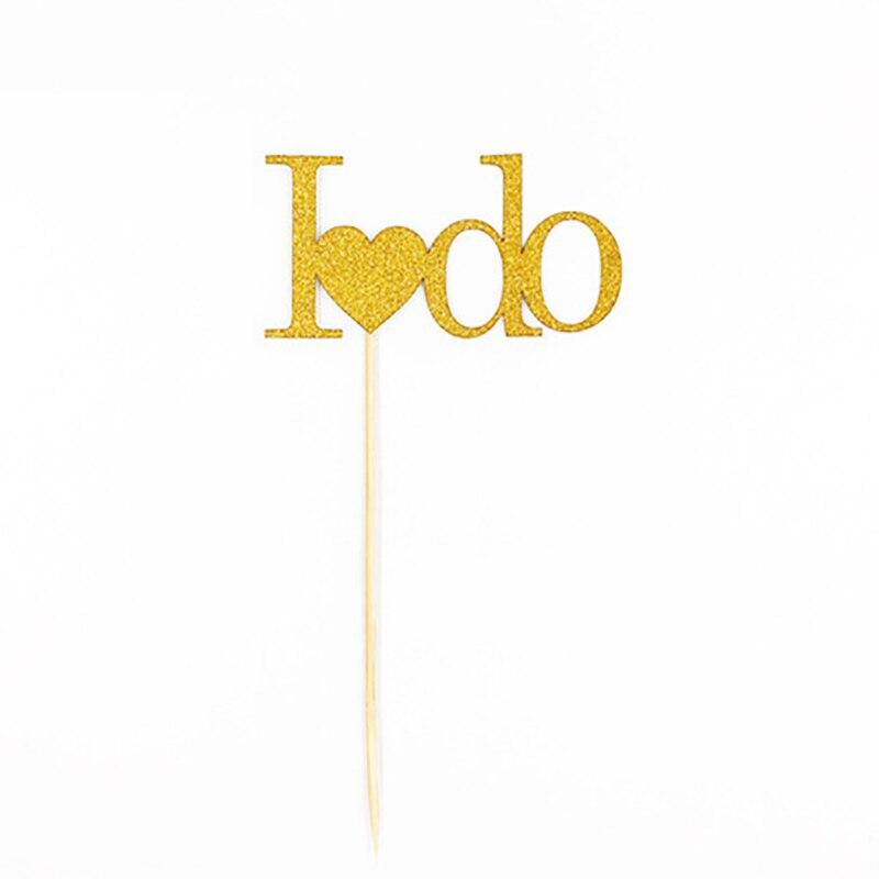 Haochu 12 шт. я делаю письма торт десерт знак вставки цвета: золотистый, серебристый блеск Бумага Bling Опора убедил Свадебные Обручение партия Дек...