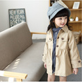 2017 Spring Little Girls Solid Trench Lovly Girls Single Breasted Trench Children's Cotton Clothes Full Sleeve Coats Kid Outwear