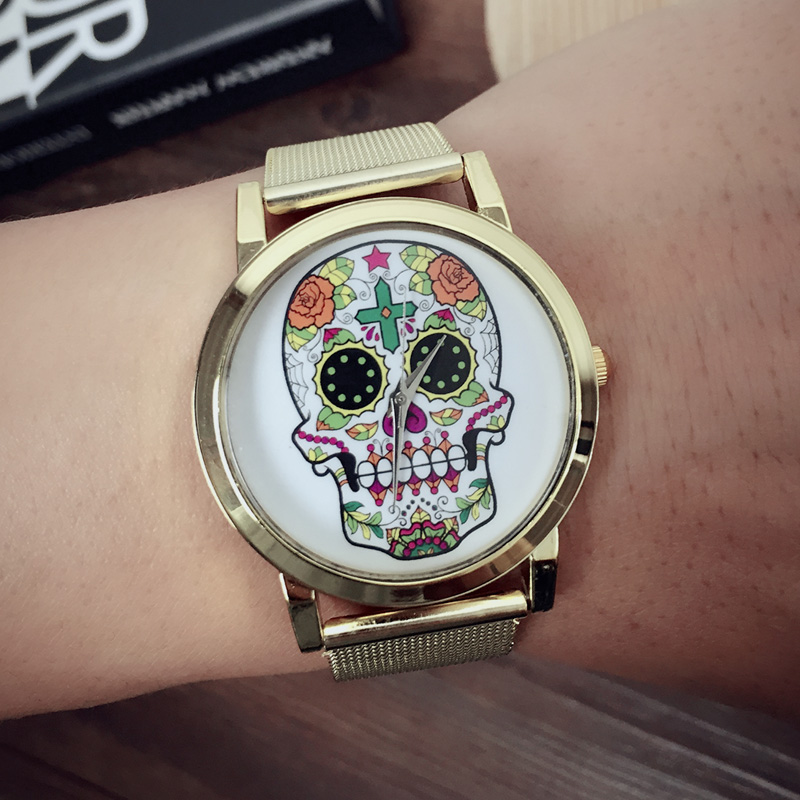 Fashion Rose Flower Women Watches /Skull Watches For Women Dress Watches Golden Stainless Steel Mesh Belt Quartz Watches