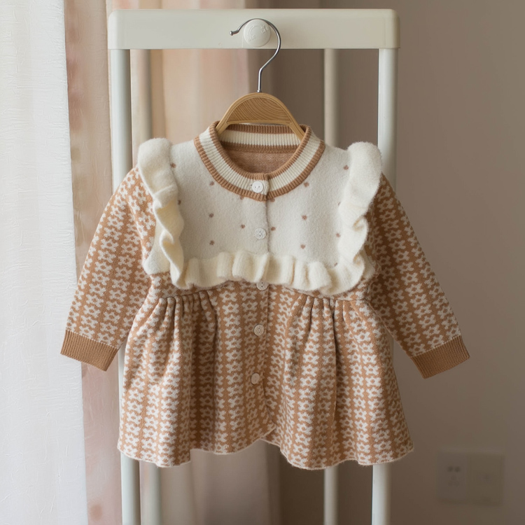children winter Dress for Girls baby underwear Sweater kids autumn knitted Clothes thick Dresses high quality