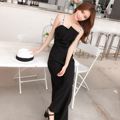 Summer New Sling Bowknot Rompers Womens Jumpsuit Fashion Wide Leg Pants Thin Combinaison Femme Elegant Ol Clothes For Women 3