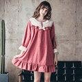A85Women pijama A Cuadros de Primavera nueva mujer ocio ropa de hogar de algodón pijamas servicio a domicilio traje Camisones de encaje cómodo