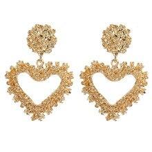 ECODAY Gold Color Metal Earrings Statement Earrings Heart Drop Earrings for Women Brincos 2019 Earings Fashion Jewelry Oorbellen недорого