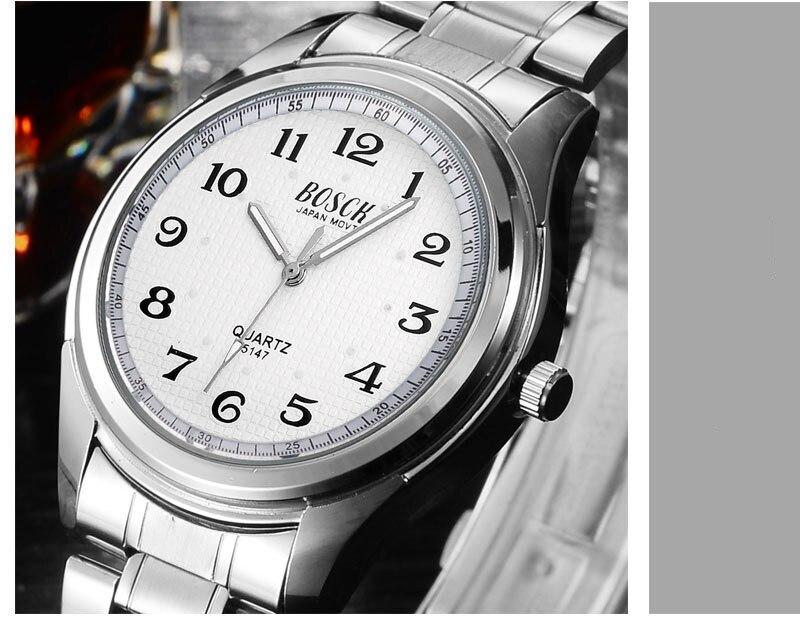 Hohe Qualität Blue Ray Schwarz Silber Leder Band Stahl Shell Männer Männlichen Quarz Uhr Armbanduhren Uhr