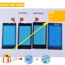 For Nokia Lumia 520 N520 Touch Screen Touch Panel Sensor Digitizer Front Glass Outer Lens Touchscreen With Frame NO LCD Black цена в Москве и Питере
