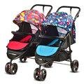 2016 Novo Design Do Bebê Gêmeo Carrinho De Criança Assento Duplo Bebê À Prova de Choque carro de Alta Paisagem Pode Sentar Mentindo Carrinho de Criança Dobrável Carrinho De Bebê Gêmeos C01