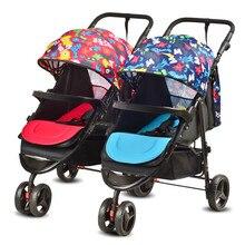 Новый Дизайн Близнецы Детская Коляска Противоударный Двойной Сиденье Малолитражного Автомобиля Высокая Пейзаж Может Сидеть Лежа Складной Коляски Коляска Близнецов