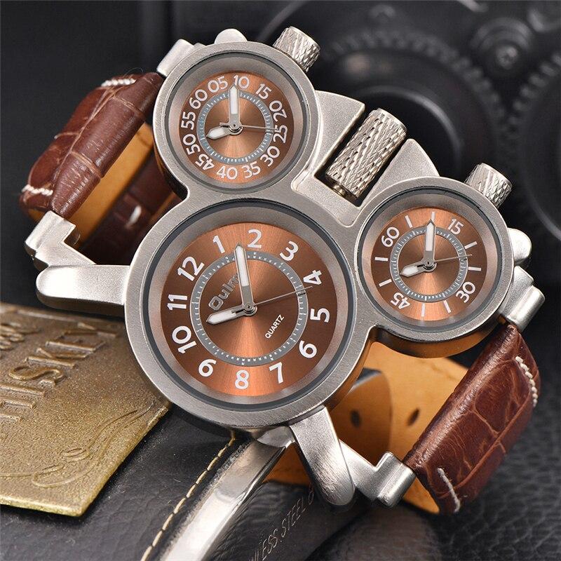 Oulm tres zonas de tiempo los hombres de cuarzo relojes de tiempo múltiples zona reloj de lujo única deporte de hombres reloj de pulsera reloj masculino