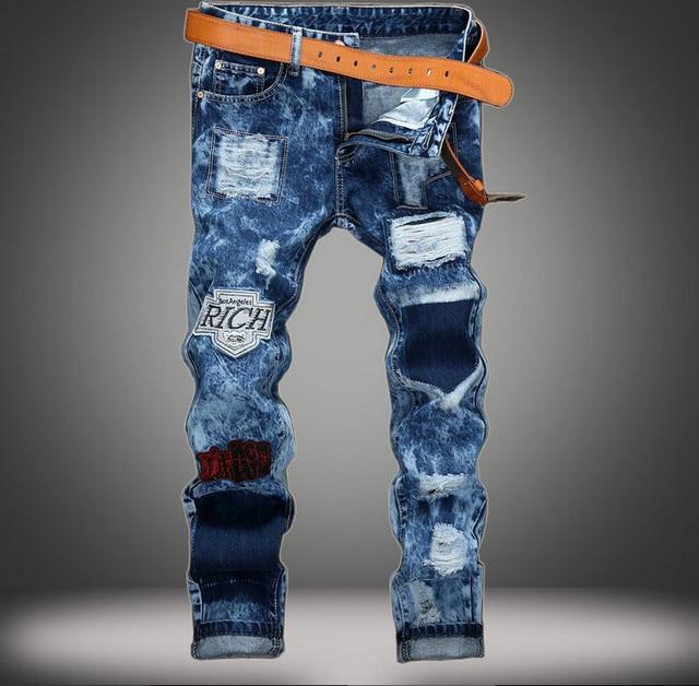 00279a7d96 Parches jeans para hombres 4-seasons Color delgado pantalones de mezclilla  calle marca Nieve Wash