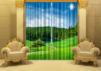 Green grass Mordern 3D Blackout Window Curtains For Living room Bedding room Hotel/Office Curtain Drapes Cortinas para sala