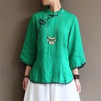 Women Chinese Style Green Blouses Summer Vintage Shirts Oblique Button Cotton Linen Blouse