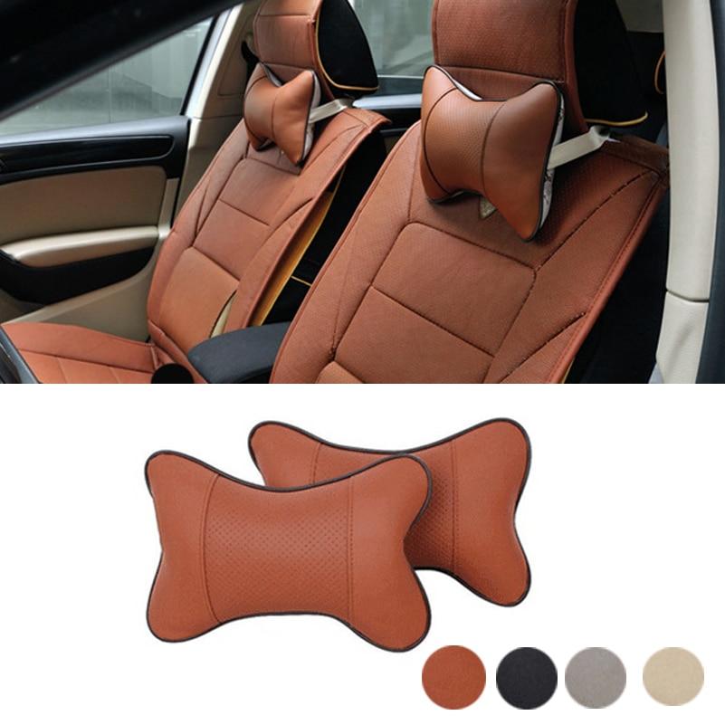 2x Headrest Mobil Leher Bantal Auto Seat Cover Kepala Leher Istirahat untuk VW BMW Ford Toyota Audi Kia Fiat