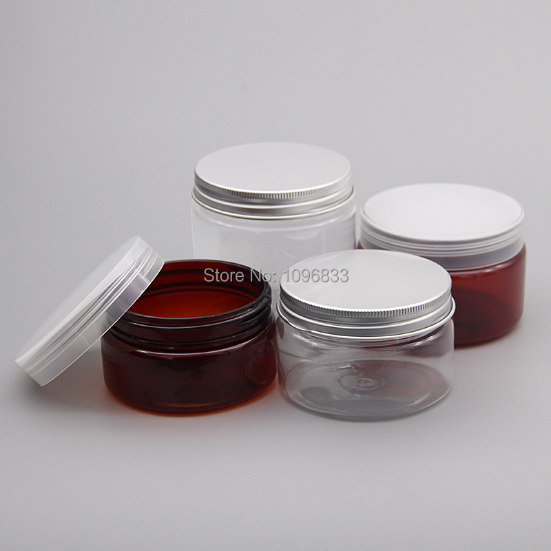 100G 120G 150G 200G 250G Plastic Pot Clear Amber Plastic Jar Empty Cosmetic Cream Jar Packing Container, 25pcs/Lot