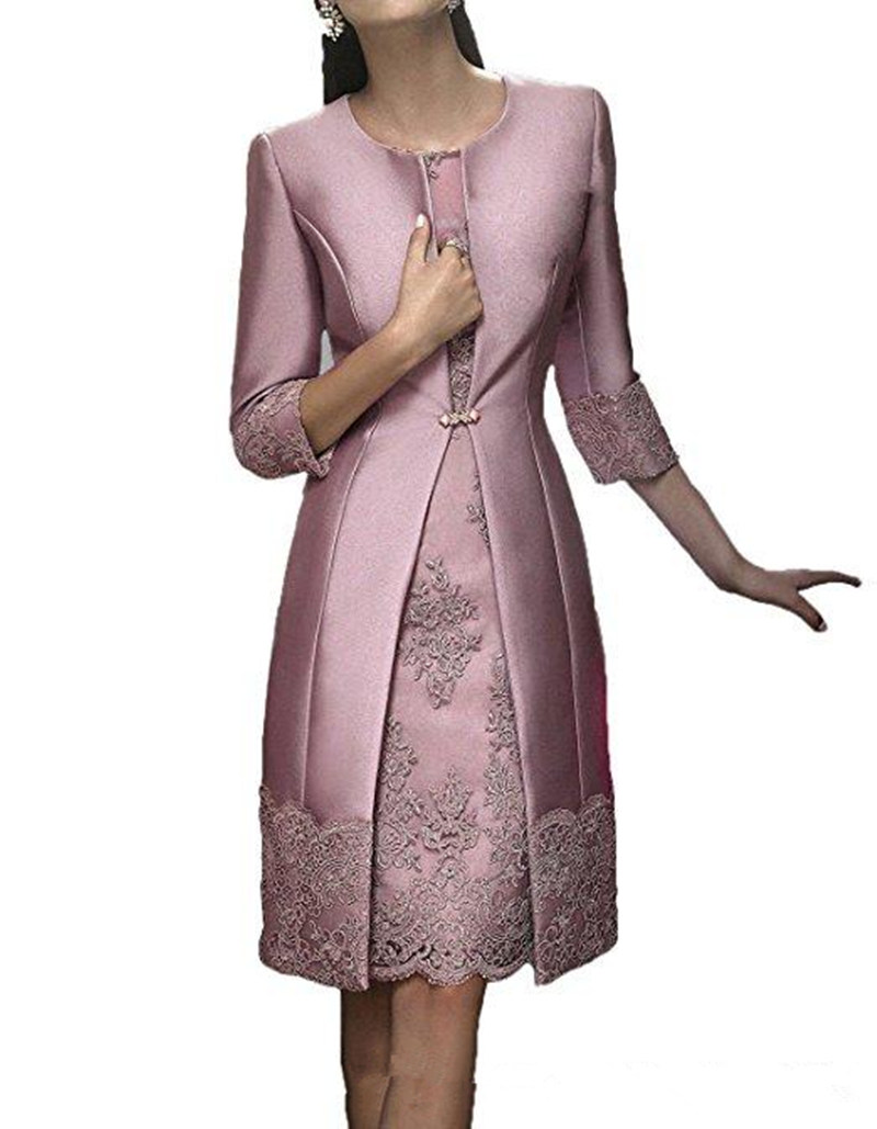 Elegant Sheath Short Mother Formal Wear With Jacket Evening Satin Lace Party Wedding Guest Dress 2019 Mother Of The Bride Dress
