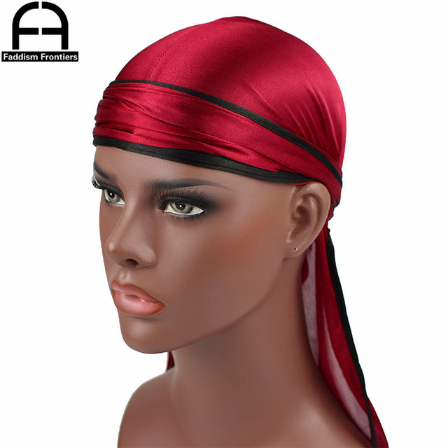 New Fashion Men's Satin Durags Biker Headwear Skull Cap Bandana Men Silky Durag Doo Rag Turban Hat Headband Hair Accessories 2