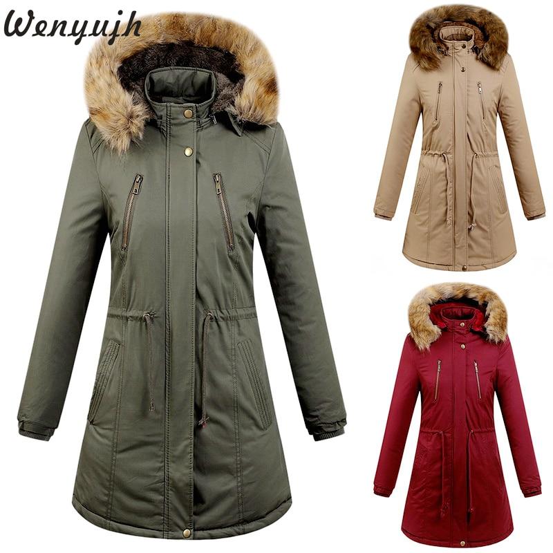 Wenyujh Women Hooded Cotton Jacket Winter Warm Fleece Medium-length Solid Color   Parkas   Zipper Drawstring Waist Design Coat