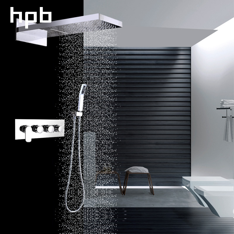 HPB Brass Wall Mounted Bathroom Shower System Faucet Rainfall Shower Faucets with Hand Showers Chrome Polished Mixer Tap HP2211a rectangle single glass shelf brass wall mounted luxury modern polished chrome shower shampoo bathroom holder bathroom hardware