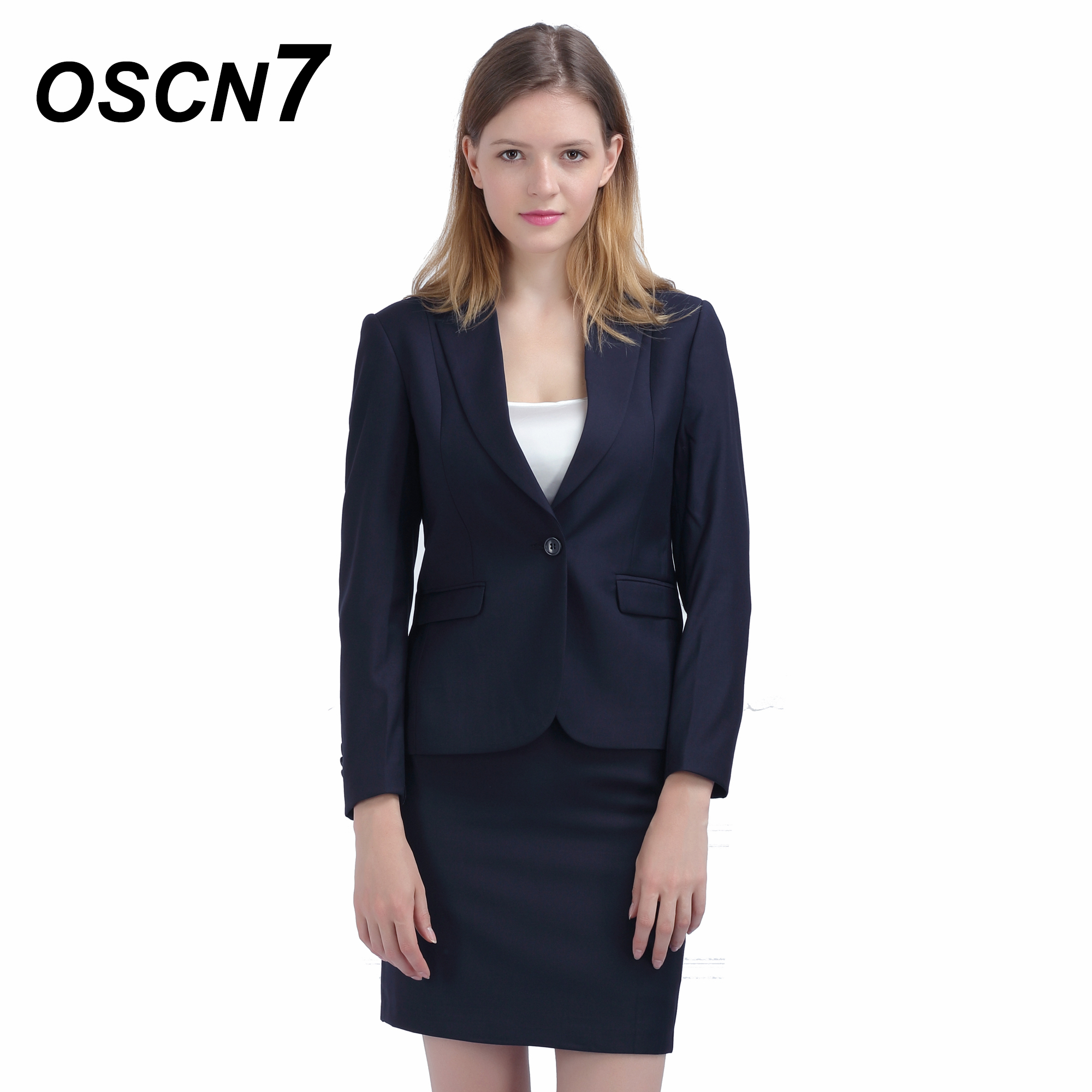 Strong-Willed Oscn7 Dark Blue Skirt Suit Fashion 2018 Slim Fit Leisure Office Uniform Plus Size Ladies Suit With Skirt 153 Pure Whiteness