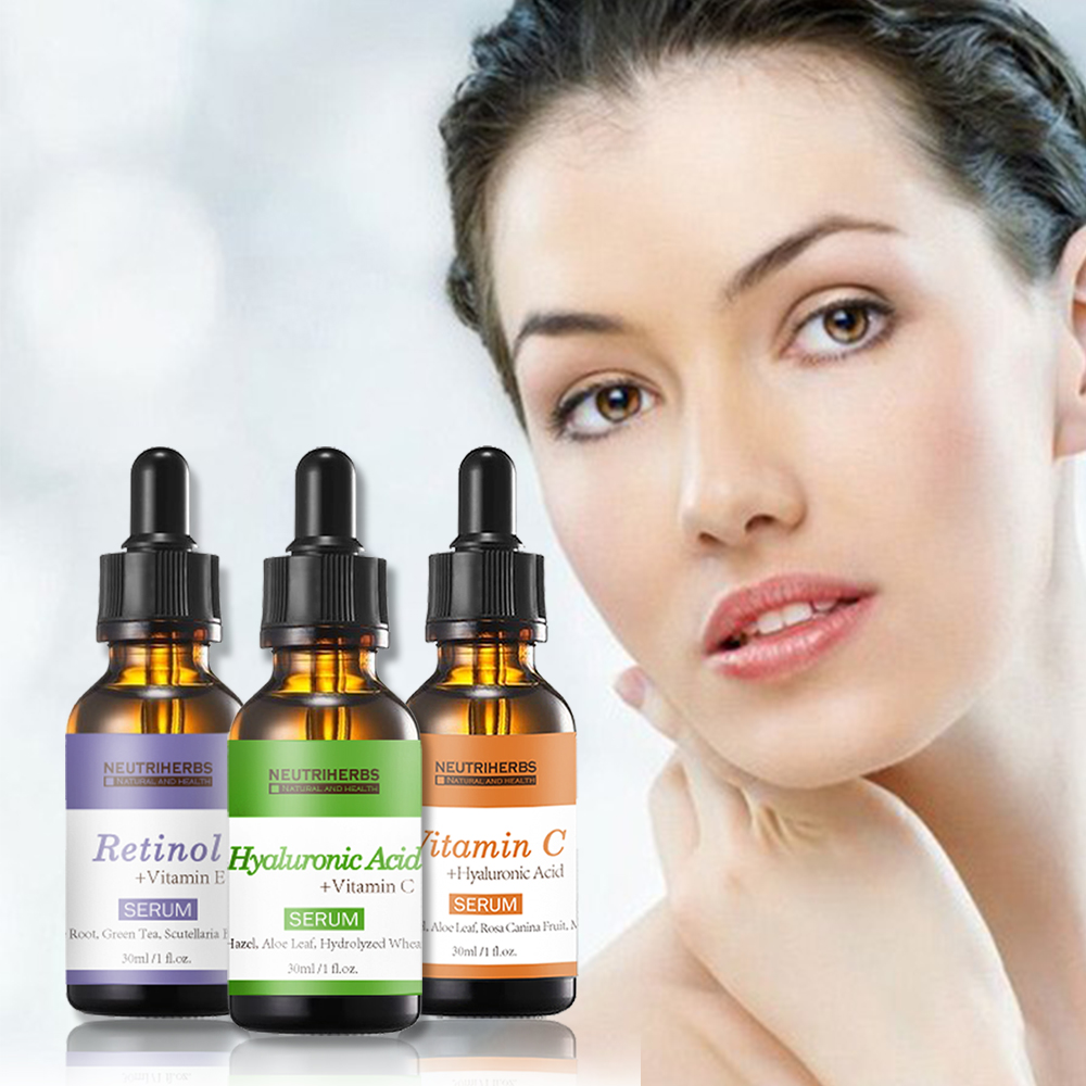 Neutriherbs Face Vitamin C Serum Hyaluronic Acid Retinol Collagen Serum Kit Skin Whitening Moisturizer Anti Wrinkle Anti Aging in BB CC Creams from Beauty Health