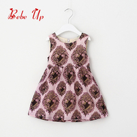 Sleeveless Flower Floral Dresses Heart Print Autumn Dress Baby Princess Clothes Girls Retail Children Clothing Party