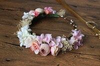 Demoiselle d'honneur Fleur Couronne Artificielle Tête De Fleur Guirlande Pour Cheveux Floral bandeau Cheveux accessoires Fleur Casque Fleur