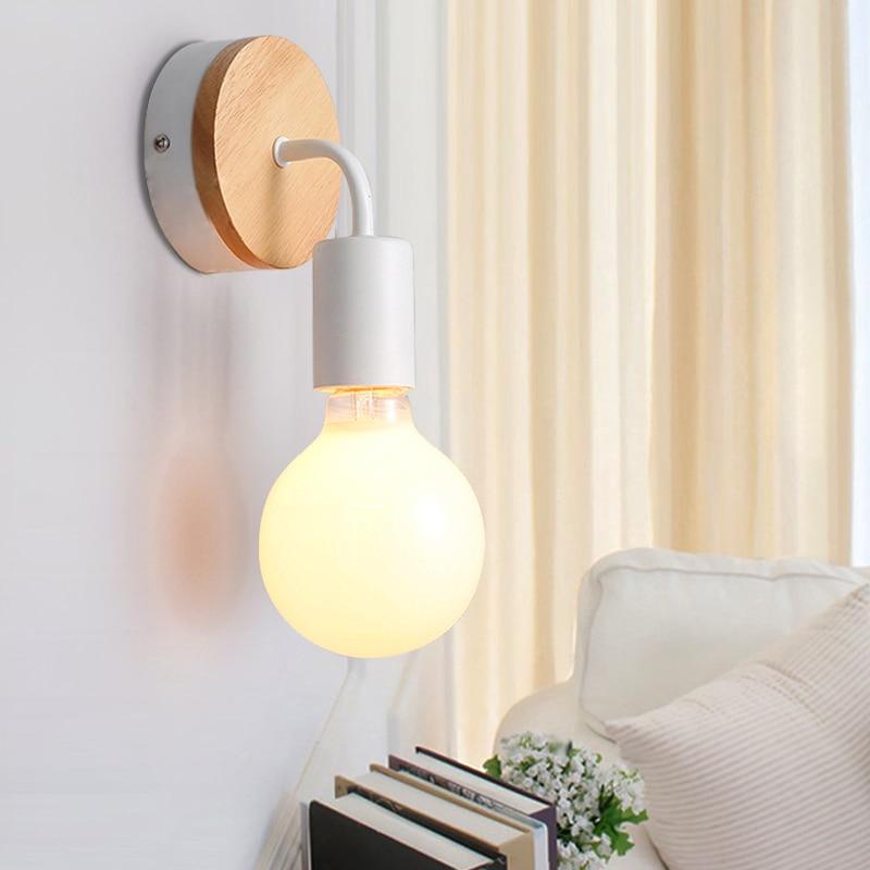 Modern Led Wood Wall Lamp Iron Metal Wall Light Fixtures Living ...