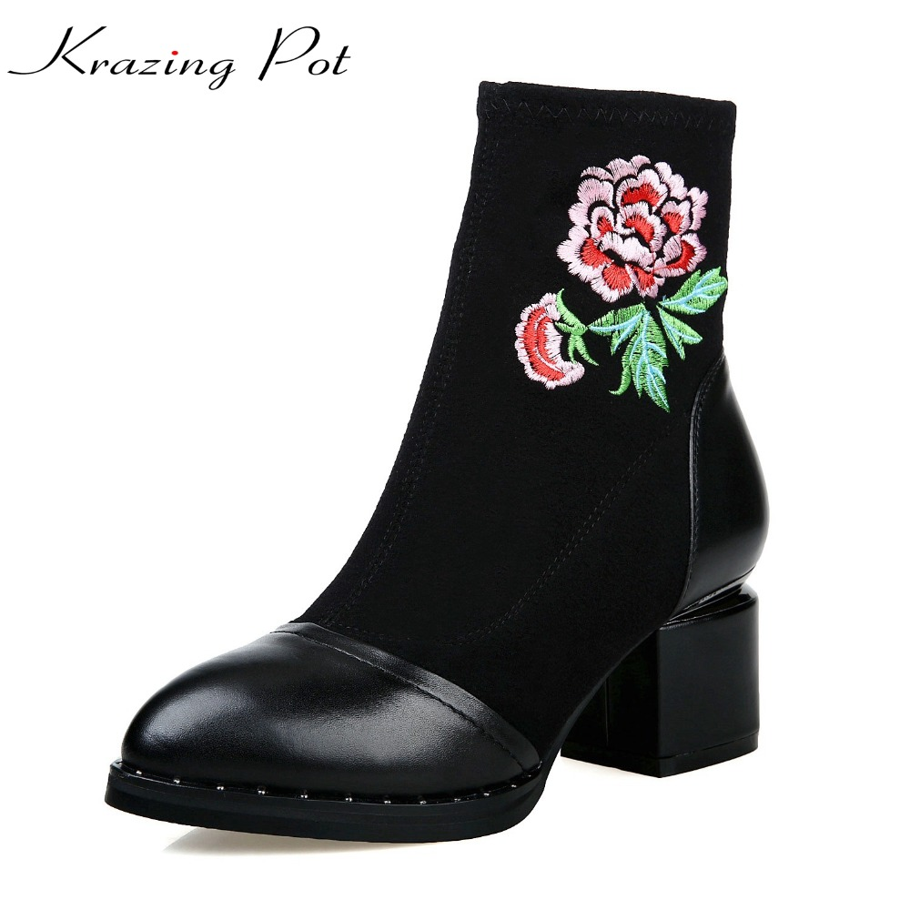 Krazing Pot genuine leather thick high heels pointed toe rome stretch fabric flower boots women superstar party ankle boots L7f3 krazing pot shallow fashion brand shoes genuine leather slip on pointed toe preppy office lady thick high heels women pumps l18