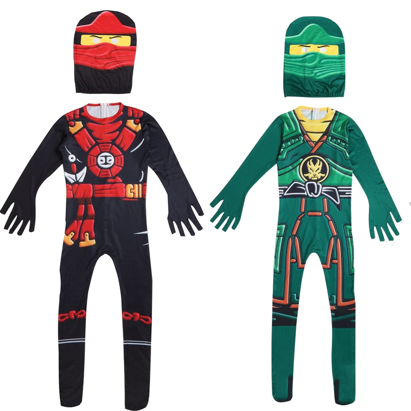 Ninjago Cosplay Jumpsuits LEGO Lloyd Kai Ninja Costumes Kids Boys Purim Carnival Party Fancy Dress Green Black Ninja Bodysuit
