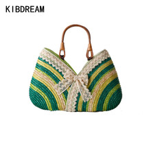 KIBDREAM 2017 New Summer Fashion Tote Bag Handbag Women Woven Straw Handbags Large Capacity Beach Bags Bolsa