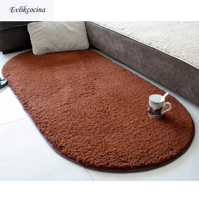 Free Shipping Coffe Warm Soft Plush Absorbent Sponge Living Room Table Cushion Sofa Mat Rug Parlor Hallway Non-slip Oval Carpet