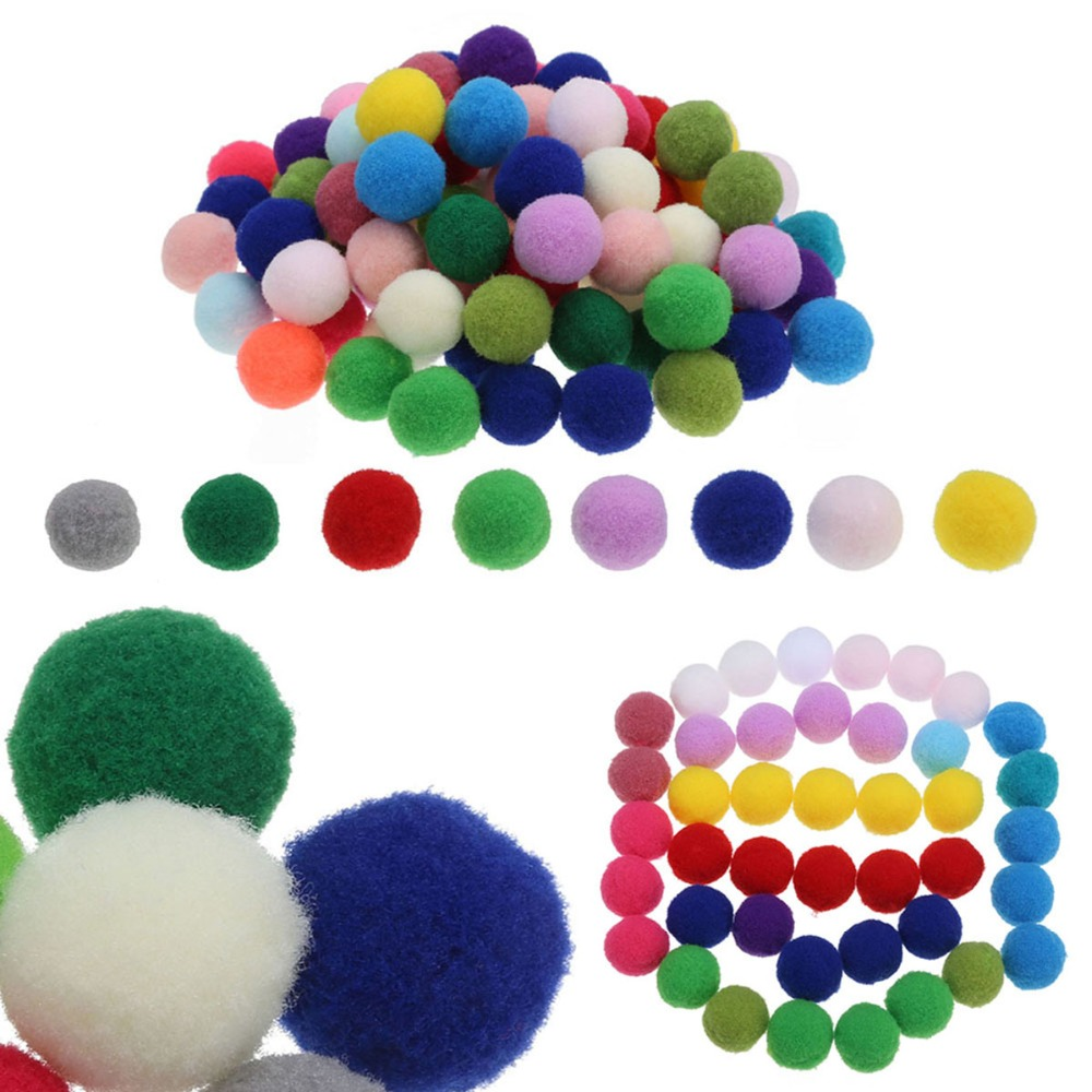 Luxury Natural Assorted Craft Pom Poms50 Pack