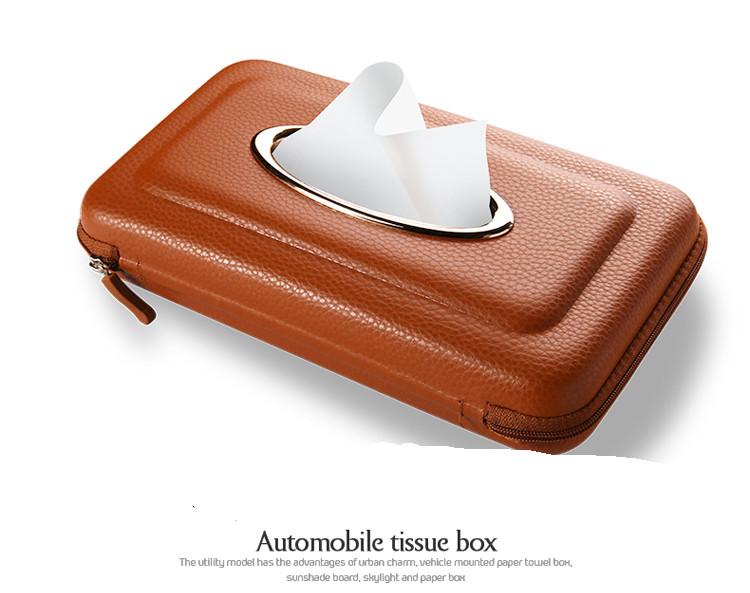 Exclusive PU Leather Car Sun Visor Tissue Box Holder