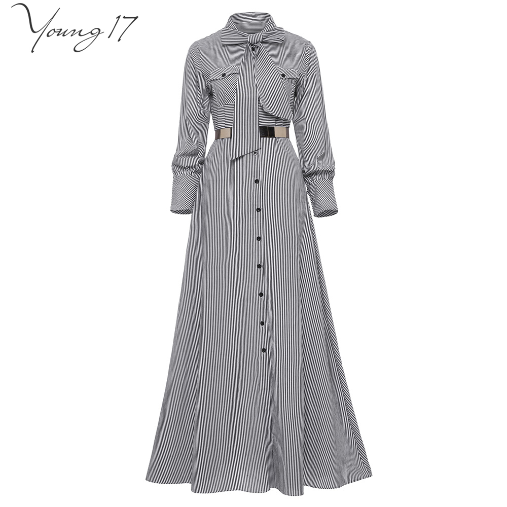 2903adbc7687a Young17 Evening Party Women Black Striped Maxi Shirt Dress Office Lady Work  Bowknot Tie Loose Button Pocket Extra Long Dresses