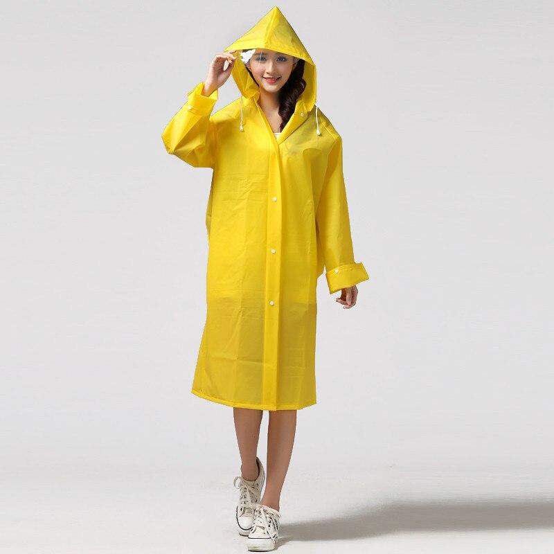 Fashion Women EVA Transparent Long Raincoat Poncho Portable Light ...