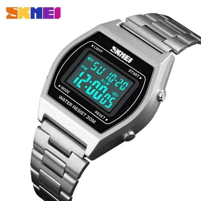 SKMEI Dames Fashion Horloges Outdoor Sport Luxe Legering Digitale Horloge Bandje Business Relogio12/24 Uur Relogio Feminino Digitale
