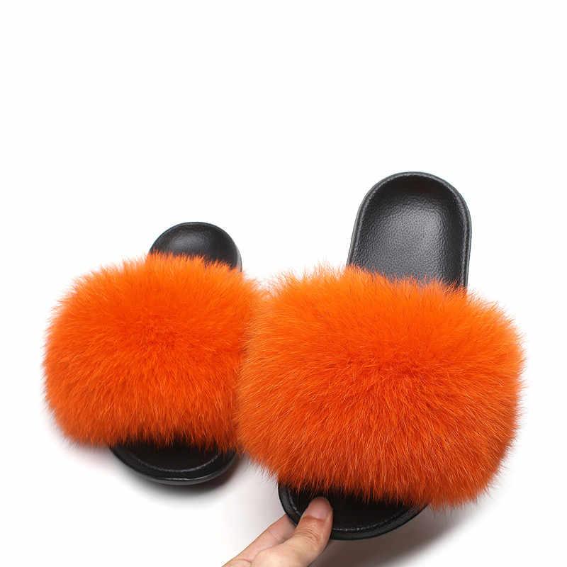 2019 г., летние Нескользящие тапочки милые шлепанцы с лисьим мехом, с натуральным лисьим мехом, хит продаж, женские меховые повседневные сандалии для пляжа, плюшевая обувь