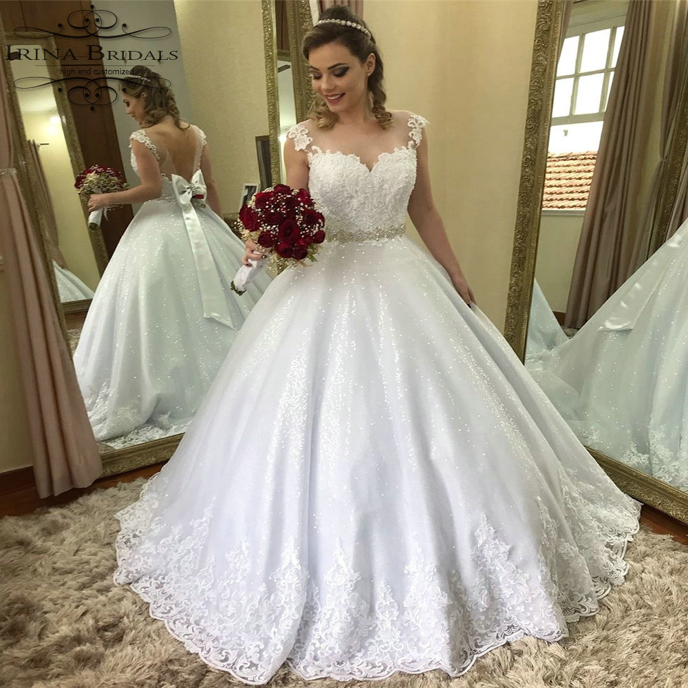 Us 275 5 5 Off Vestidos De Novia Vintage Cap Sleeve Lace Applique See Through Back Snow White Wedding Dress In Wedding Dresses From Weddings