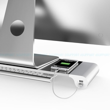 Dsupport Бесплатная доставка рабочего монитор Стенд пробел ноутбук стенд Riser с 4 портами USB зарядка для iMac, MacBook Pro, Air
