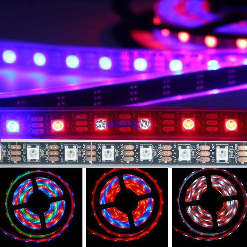 ФОТО 16.4FT 5M WS2812B 60LED/m 300led IP67 Waterproof Individually Addressable Led Digital strip DC5V Black Pcb
