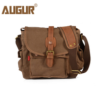 AUGUR Fashion Men's Shoulder Bag Canvas Leather Belt Vintage Military Male Small Messenger Bag Casual Travel Crossbody Bags