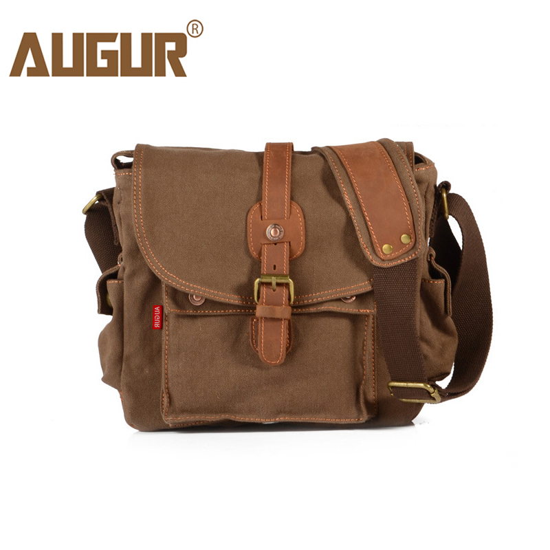 AUGUR Fashion Men's Shoulder Bag Canvas Leather Belt Vintage Military Male Small Messenger Bag Casual Travel Crossbody Bags augur new men crossbody bag male vintage canvas men s shoulder bag military style high quality messenger bag casual travelling