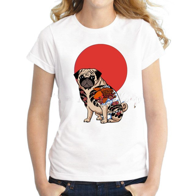 Cartoon tatuaggio pug donne t-shirt manica corta casual lady tops moda Yakuza Pug hipster stampato divertenti t-shirt animale fr