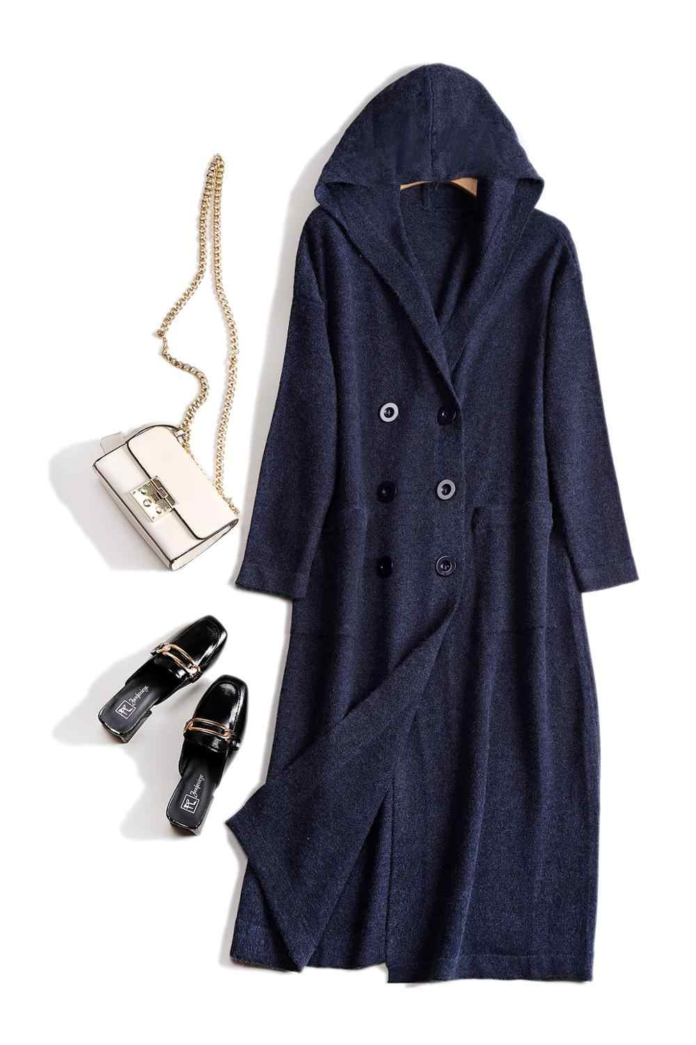 2019 Long Coat Knitted Wool Blend Hooded Warm Knitted Sweater Women Korean Cardigans Thick Loose Autumn Winter Cardigans Female