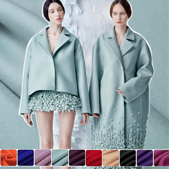150CM Wide 840G/M Weight Double Faced Tea Green 30% cashmere & 70% wool Autumn and Winter Overcoat Jacket Fabric E230