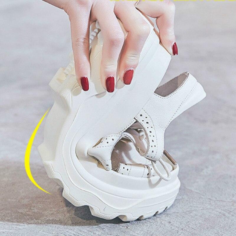 여성 가죽 샌들 캐주얼 여름 신발 비치 샌들 6 cm 하이힐 웨지 샌들 여성 화이트 정품 가죽 스니커즈 clunky-에서하이힐부터 신발 의  그룹 1
