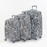 ゼブラプリント画像ボックストロリー荷物トラベルバッグ荷物メスユニバーサルホイールは
