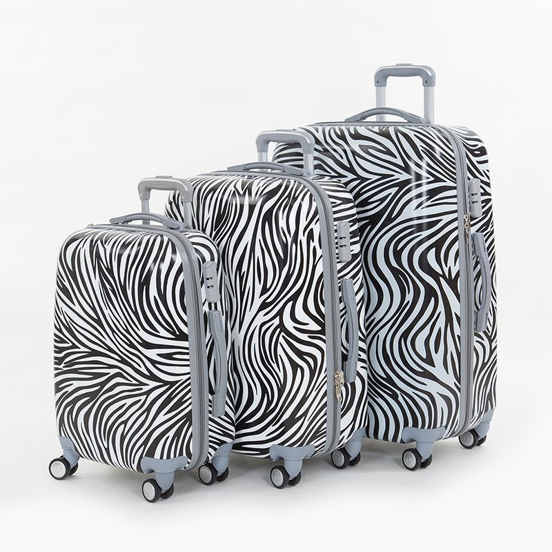 Zebra print picture box trolley luggage travel bag luggage female universal wheels,20 24 28inch fashion pc trolley luggage sets