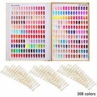 Makartt 308 Colors Golden Nail Gel Polish Display Chart with Tips Nail Art Salon Set F0397